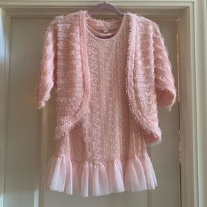 Pink lace dress with matching jacket, size 7